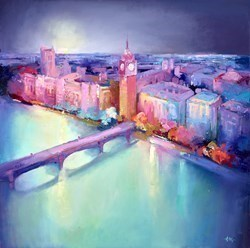 Above Westminster I by Anna Gammans -  sized 24x24 inches. Available from Whitewall Galleries